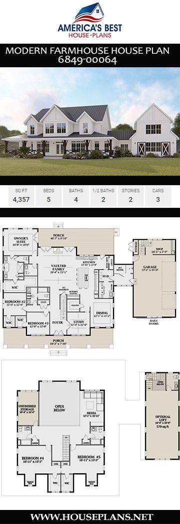 Modern Farmhouse House Plan 6849-00064  – Best Selling House Plans
