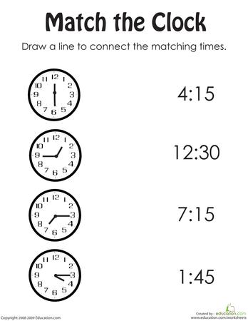 Time And Money Math Workbook Education Com Kindergarten Telling Time Telling Time Worksheets Clock Worksheets