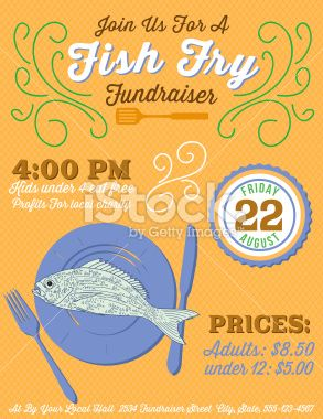 fundraiser fish fry poster template royalty free stock vector art