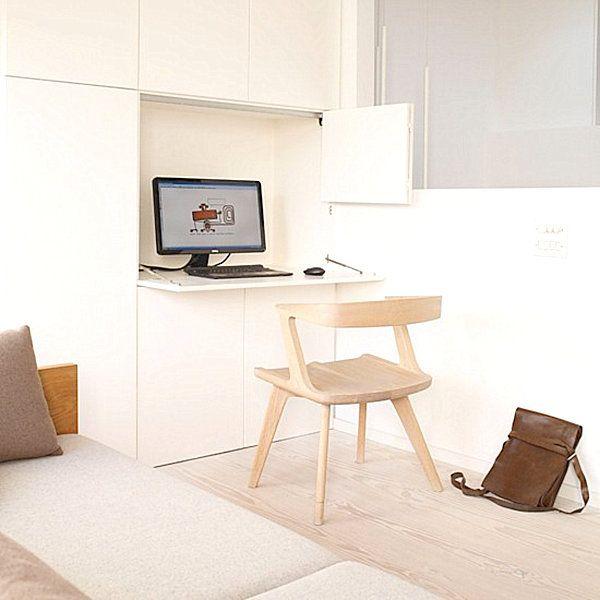 Arbeitsplatz büro schreibtisch home office einrichtungung als versteckter arbeitsplatz mit ...