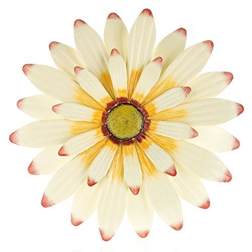 Cream & Orange Metal Flower Wall Decor Everydecor https://www.amazon ...