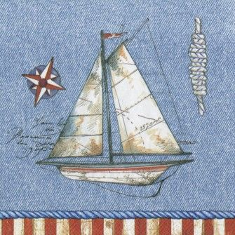 Starboard Blue Lunch Napkins - Nautical - Party Themes PlatesAndNapkins.com