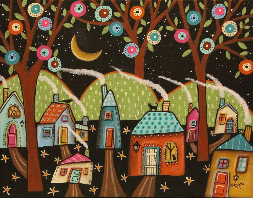 Cool Night 11x14inch ORIGINAL CANVAS PAINTING  houses cat bird Folk Art Karla G #FolkArtAbstractPrimitive