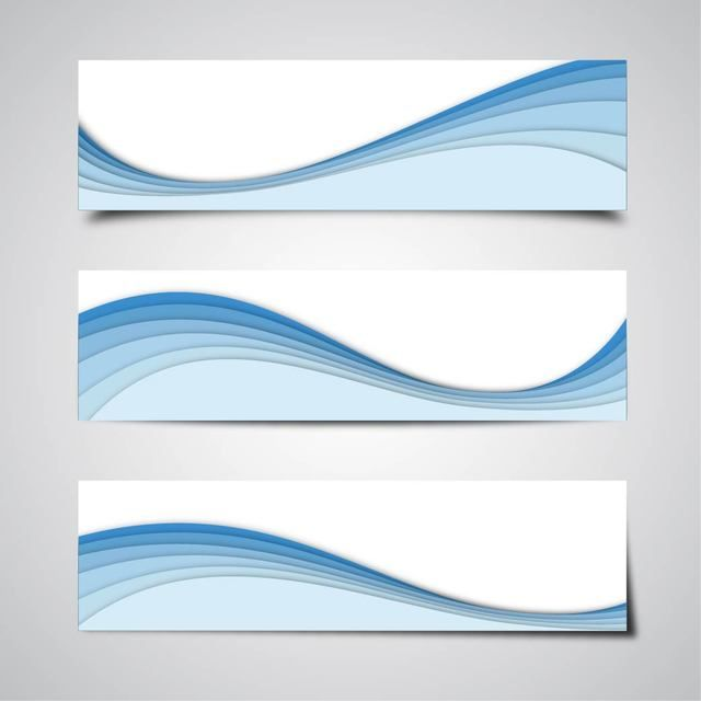 3 Abstract Banners With Blue Waves Vector For Free Download