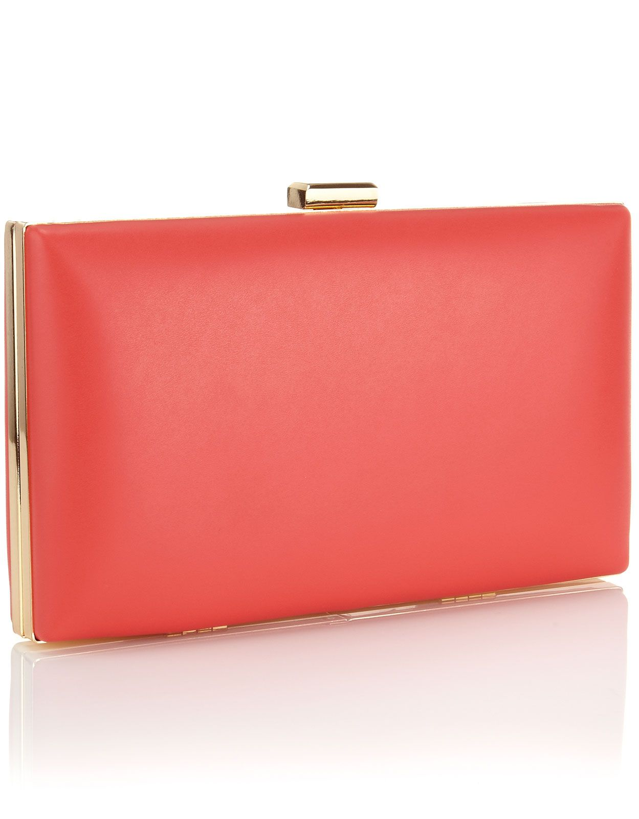 simple coral clutch with gold accents