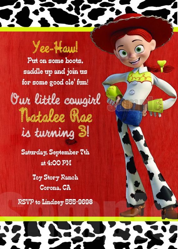 Jessie TOY STORY Cowgirl Birthday Party Personalized Invitation ... 8e57e78eea6