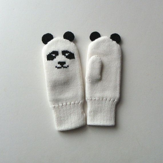 Panda mittens white mittens with lining warm winter by Tuttolv