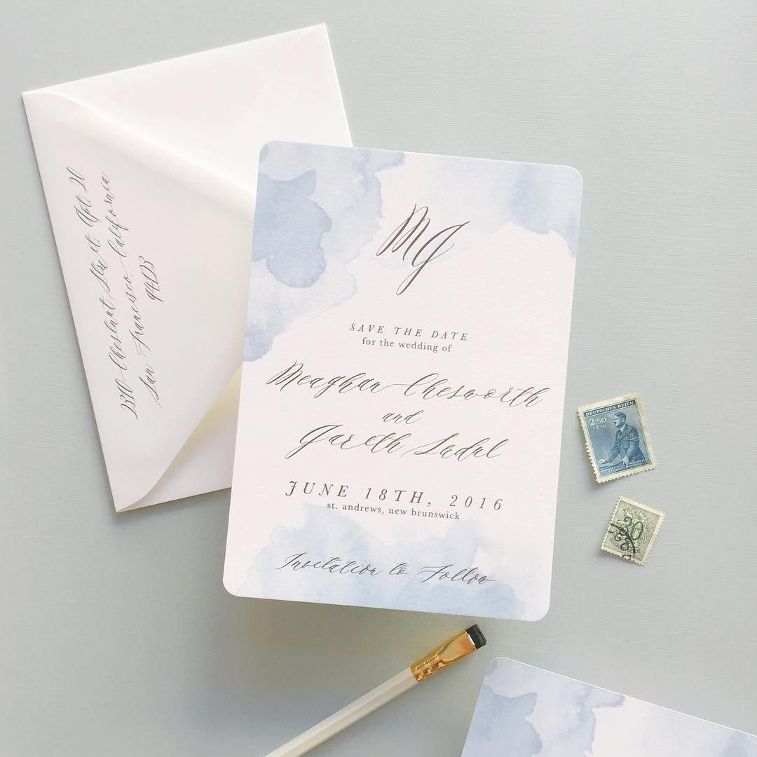 dreamy watercolor calligraphy save the date