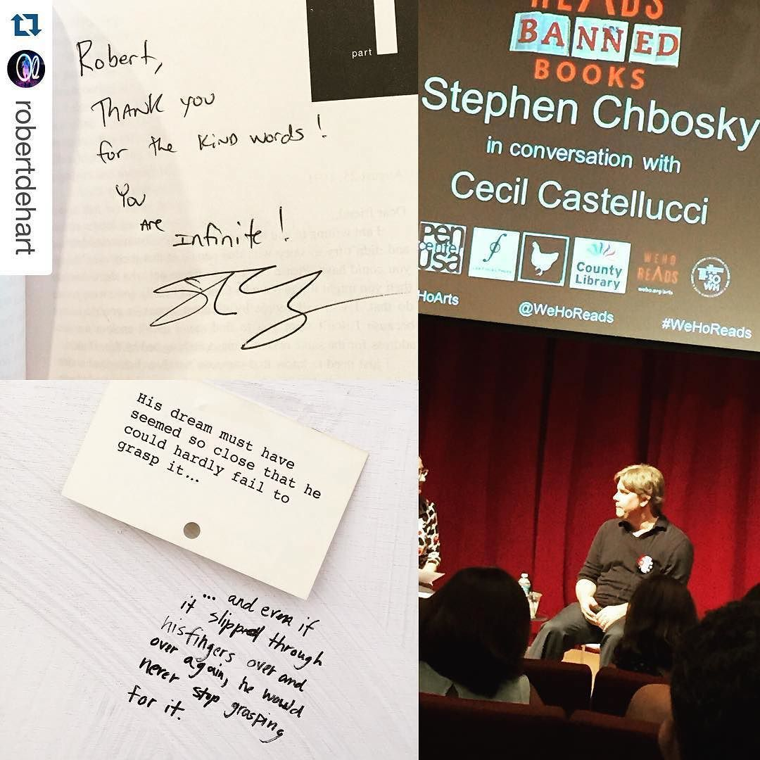 @wehoarts thanks everyone who came out to #wehoreads #bannedbooks yesterday incl @robertdehart who got both a lovely inscription from @stephenchbosky and participated in @dani_dodge art installation on banned books.