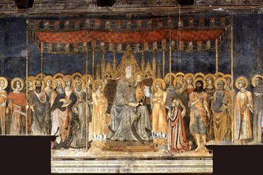 San Gimignano (Toscana, Italia) - Musei Civici di San Gimignano - Sala di Dante - Maestà di Lippo Memmi (1317) , ispirata a quella dipinta da Simone Martini nel Palazzo Pubblico di Siena.