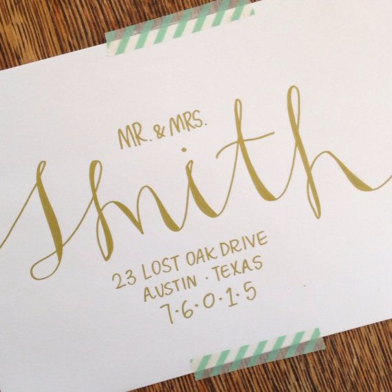 Handwritten Wedding Invitations Envelopes: Wedding Calligraphy Envelope Addressing By