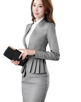 dded0a2917cb S-3XL Office Women's Skirt Suits Autumn Winter 2016 Fashion Elegant Solid  Long-sleeve