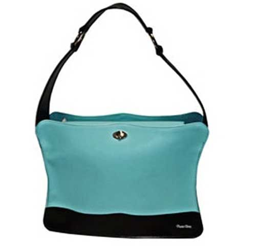 Pet Carrier The Ho-Beau Tiffany Blue. Silver hardware with /black fur and mesh on sides