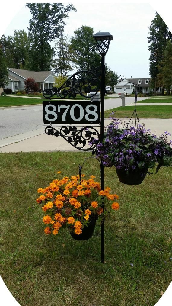 "Driveway Address Sign - Double Sided Reflective Address 911 with 60"" pole & double scroll and 2 plant hooks with Solar Light Address Sign"