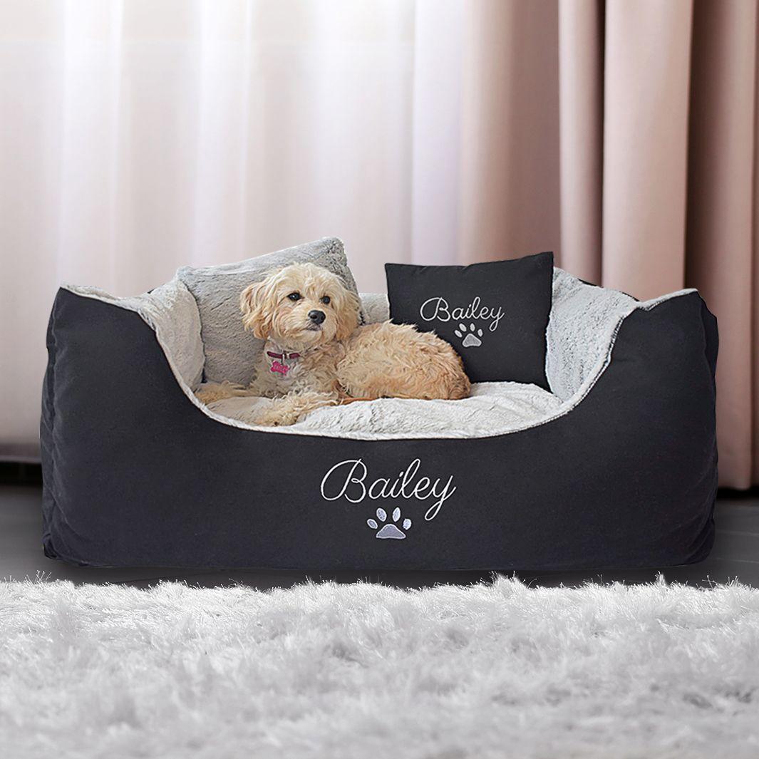 Personalised Black Fluffy Dog Bed Medium Dog bed