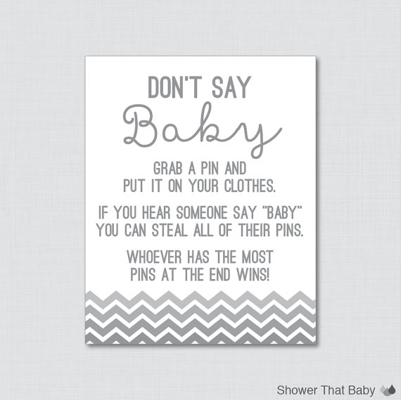 graphic regarding Free Don't Say Baby Printable named Dont Say Kid Child Shower Match inside of Grey Ombre Chevron