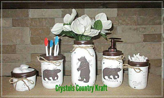 Deer,  bear, moose bathroom set,woodland animal decor,soap dispenser, toothbrush holder, storage distressed mason jars, woodland bathroom #masonjarbathroom