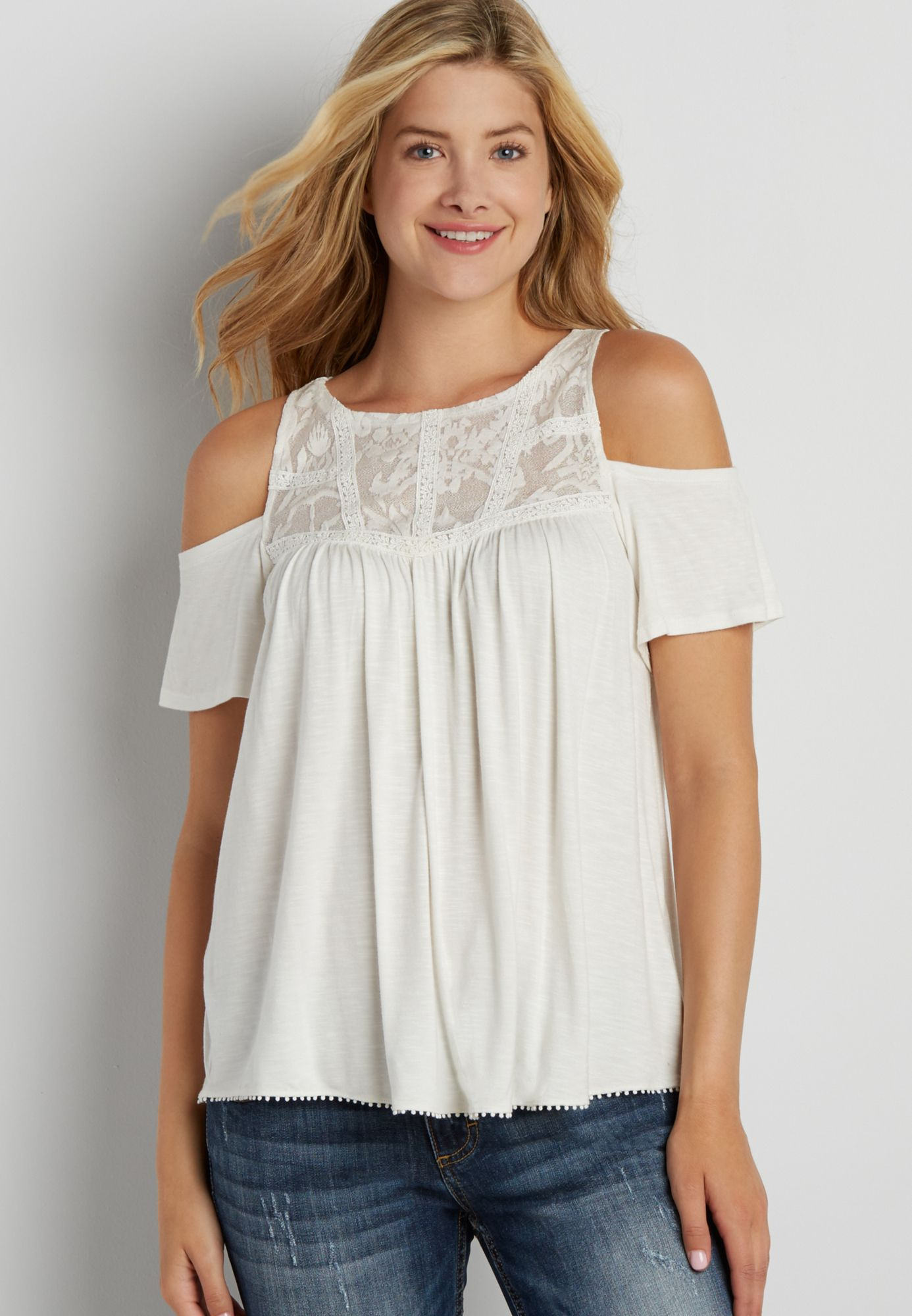 fa7401b43c98f4 cold shoulder swing tee with lace yoke (original price, $29.00) available  at #Maurices