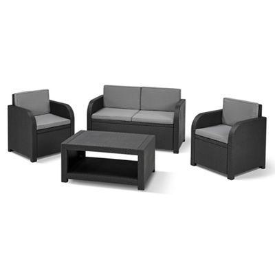 Debenhams Grey Rattan Effect Ferrara Garden Sofa Table And 2