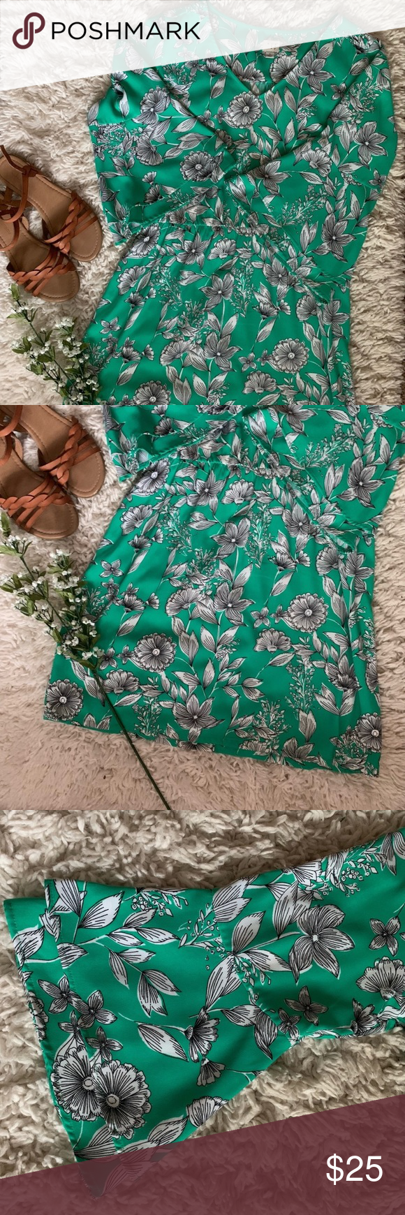 A New Day Green White Floral Bell Sleeve Dress Long Sleeve Floral Dress Floral Bell Sleeve Dress [ 1740 x 580 Pixel ]