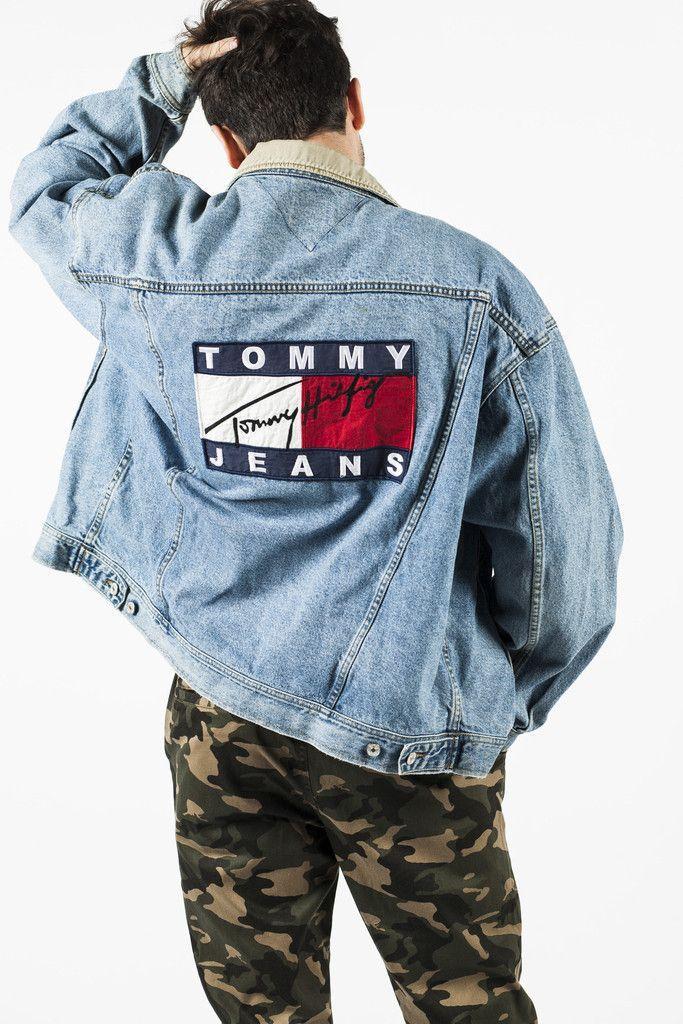 Vintage 90s Tommy Hilfiger Big Flag Denim Jacket Sz Xxl Unfaded Era Tommy Hilfiger Mode Manner Outfit 90er Jahre Mode Manner