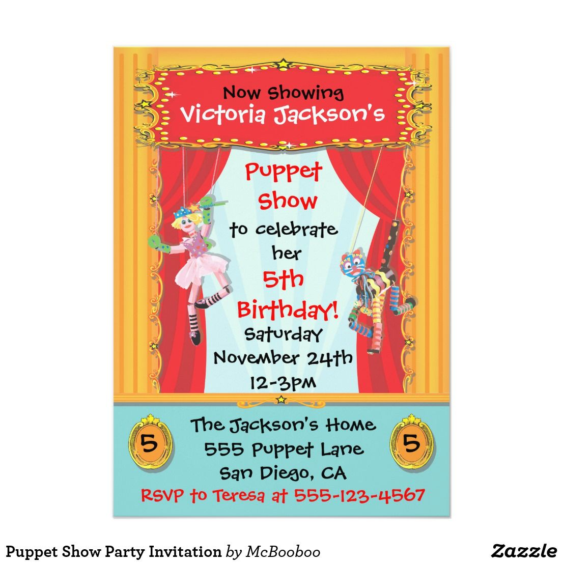 Outstanding 5th birthday invitations pattern resume ideas puppet show party invitation birthday party ideas pinterest filmwisefo