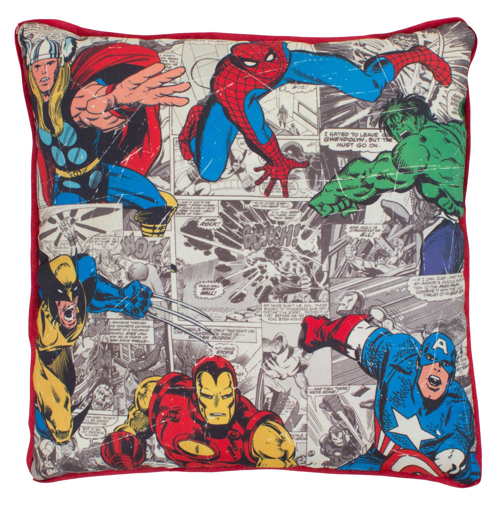Marvel Comic Bedroom Marvel Defenders Comic Book Red Blue Green Yellow Cushion