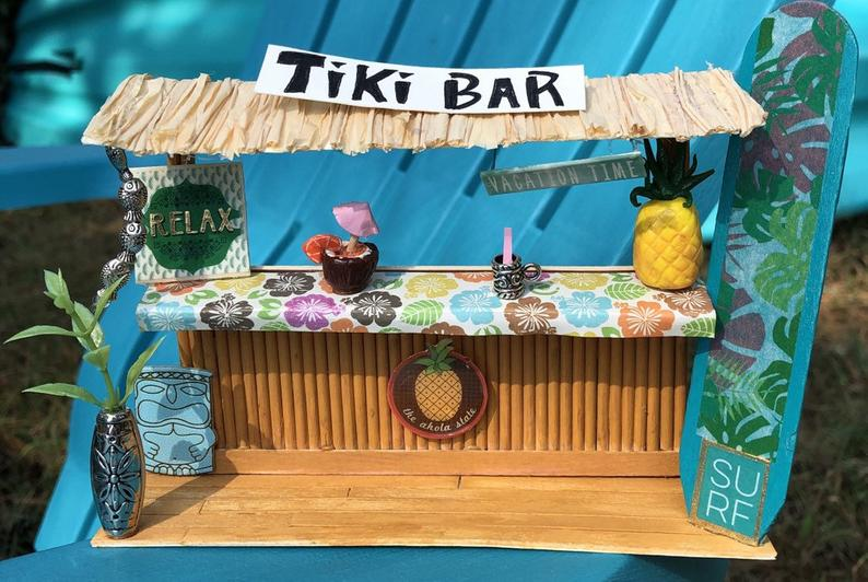 Tiki Bar Craft Kit- Hawaiian Luau Party Decor- Unique Gift for any Occasion- Tropical Decor #hawaiianluauparty