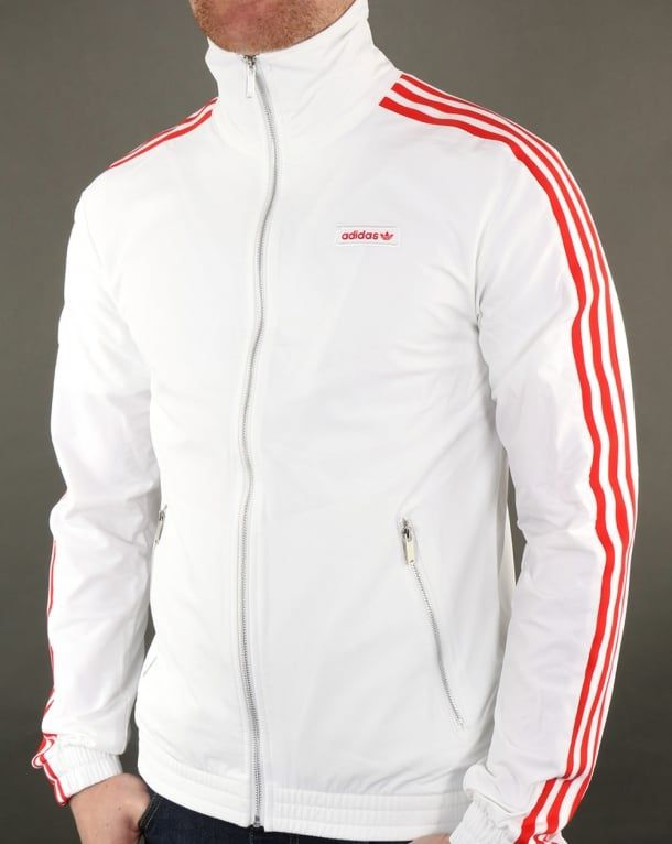 Adidas Originals Track Top White red | Adidas retro, Adidas