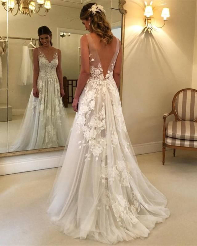 Princess Style A Line V Neck Tulle Floor Length Wedding Dresses Lace Embroidery Backless Wedding Backless Wedding Dress Wedding Dresses
