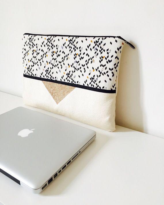 e9a82c3f2e Pochette Rock dorée pour Macbook et ordinateur 13 pouces, tissu simili cuir…