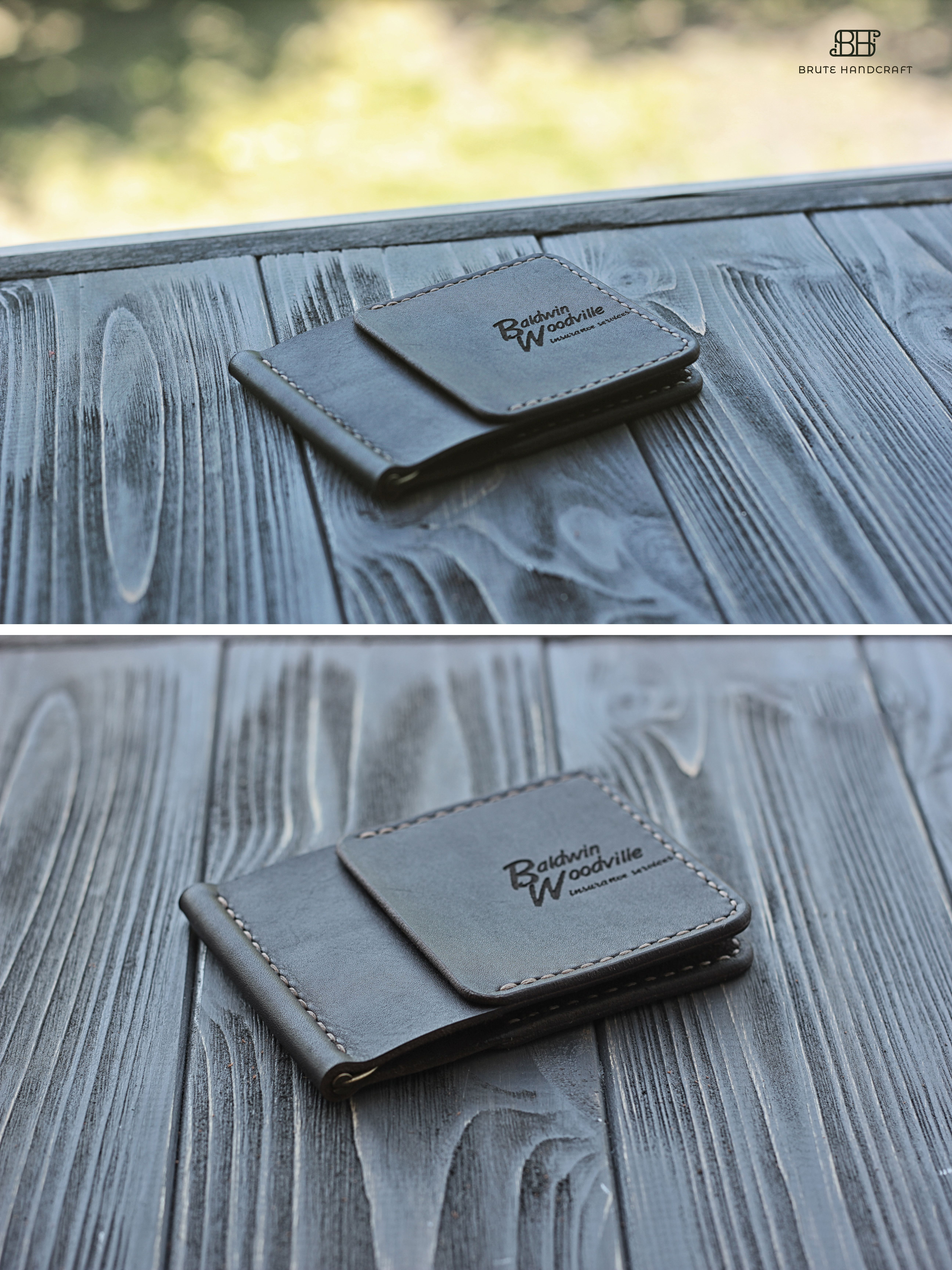 Personalized Leather Money Clip wallet for men, Business card holder ...