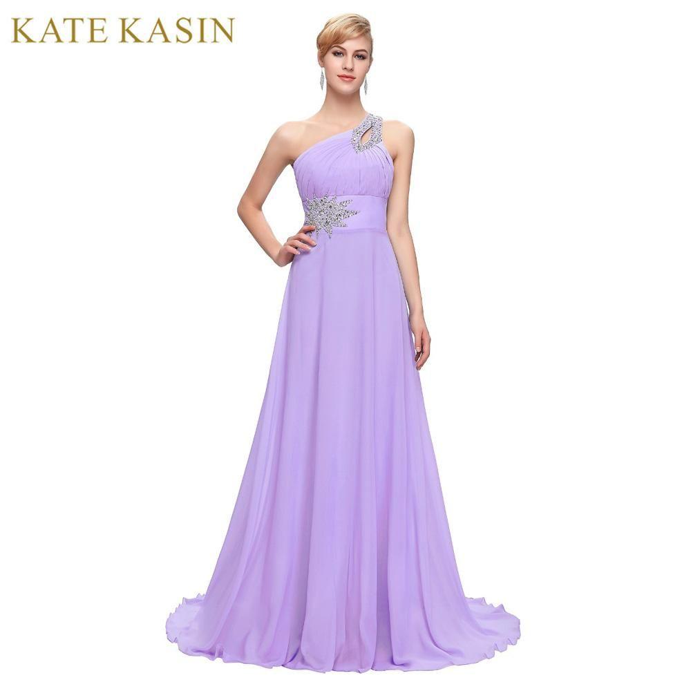 Long Chiffon Bridesmaid Dresses One Shoulder Beading Royal Blue ...