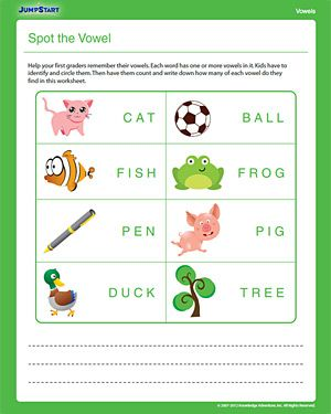 Spot the Vowel - Free Printable 1st Grade English Worksheet | Summer ...