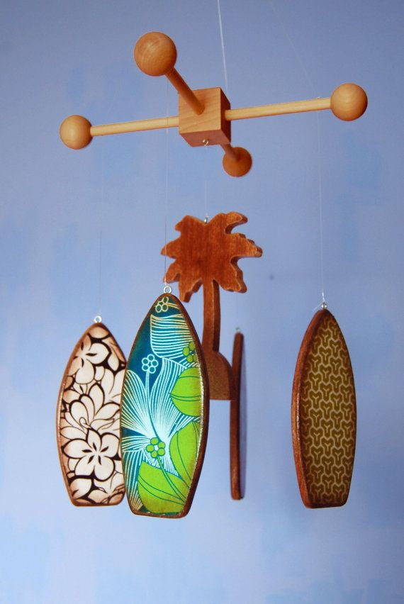 Customizable wooden surfboard baby mobile. Choose prints to match your decor.