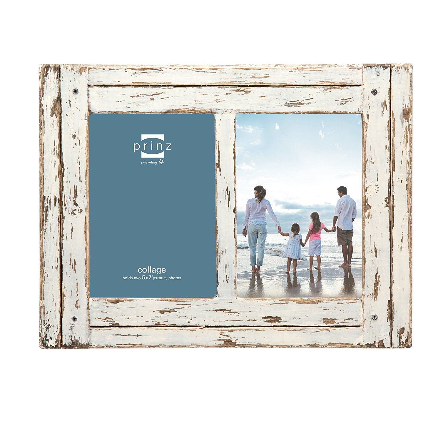 Prinz 2 Opening Homestead Antique Wood Collage Frame, 5 x 7\', White ...