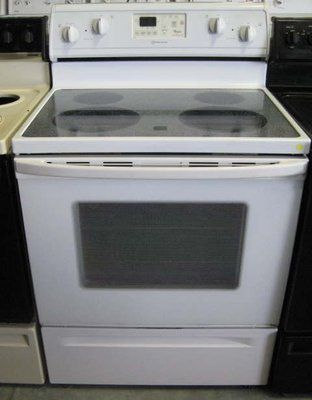 White Whirlpool Glass Top Stove Double Wall Oven Yard Sale Glass Top