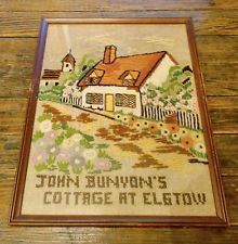 VINTAGE NEEDLEPOINT EMBROIDERY JOHN BUNYONS AT ELSTOW COTTAGE FRAMED WALLHANGING