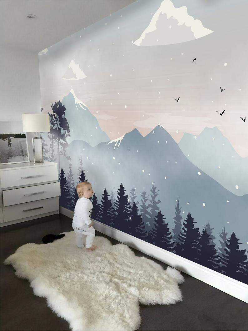 Kids Wallpaper Peel And Stick Self Adhesive Mountain Wall Etsy Kid Room Decor Kids Wall Murals Baby Room Decor