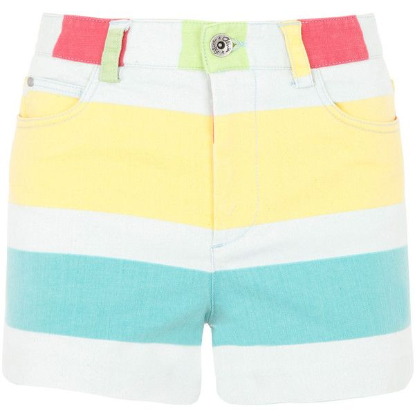 alice and olivia High-Waisted Striped Shorts ($215) ❤ liked on Polyvore