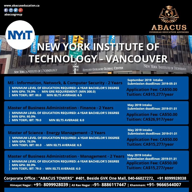 New York Institute Of Technology Vancouver Ms Information Network Computer S Levels Of Education Masters In Business Administration Overseas Education