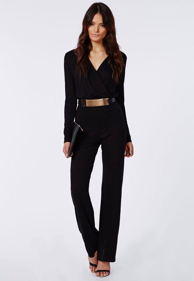 bb845fe7e76 Missguided Deliana Long Sleeved Wrap Wide Leg Jumpsuit Black on  shopstyle.com