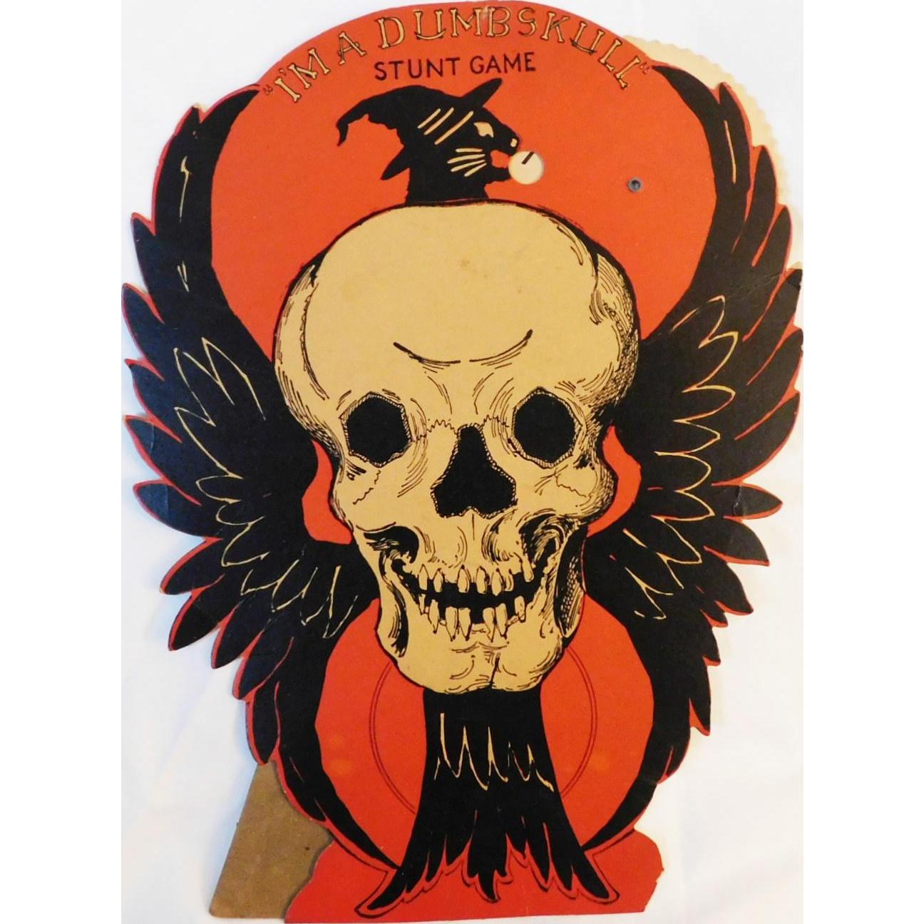 I M A Dumb Skull Stunt Game Halloween Decoration Beistle Company 1930 1931 Hard To Find Rare Vintage Halloween Retro Halloween Vintage Halloween Decorations