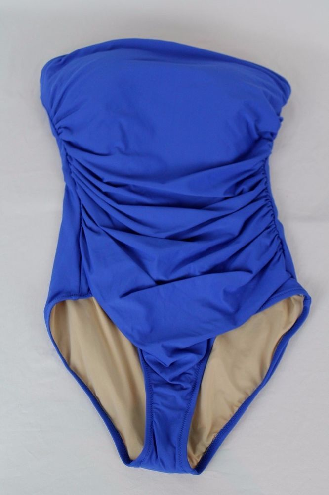 ca7a9be842225 J.Crew $100 D-Cup Ruched Bandeau One-Piece Swimsuit 14 Bistro Blue NWOT  B6842 #JCrew #OnePiece