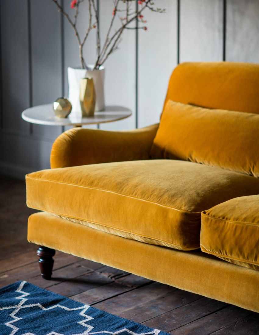 Velvet Three Seater Sofa By Rose Grey Yellow Sofa Velvet Sofa Living Room Sofa