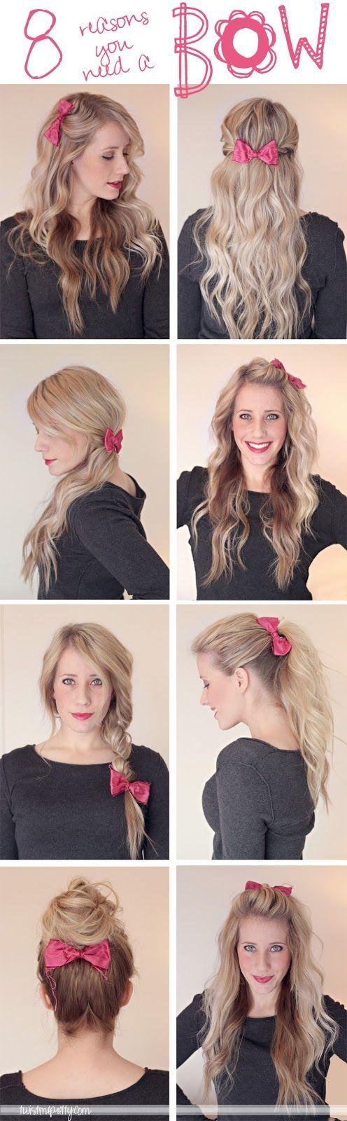 8 Ways To Style A Bow Twist Me Pretty Hair Styles Long Hair Styles Hair Beauty