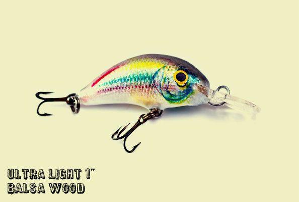Lot of 3 Ugly Duckling Lure Balsa Wood Ultra-light tout fishing minnow