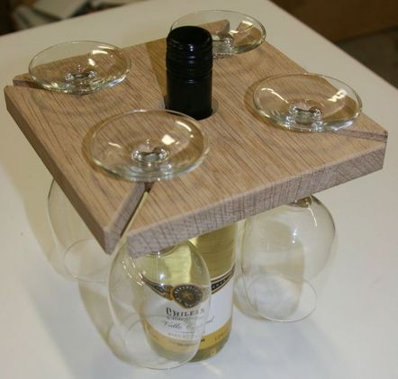 How To Make Your Own Wine Bottle And Glass Holder From Scrap Wood