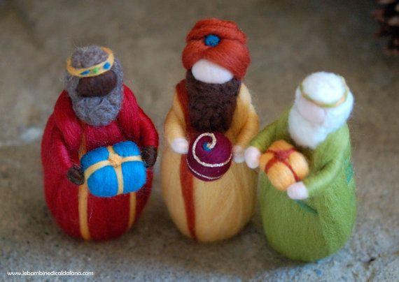 Geburt, weisen, zwei Schafe, Wolle Krippe Märchen, Weihnachtsdekoration, weiche Skulptur, Waldorf inspirierte Puppen #dollcare