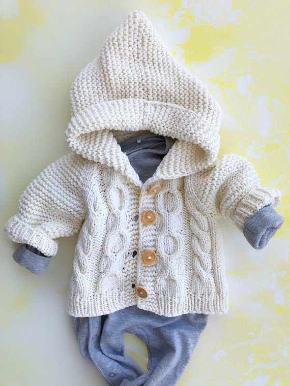 0453a151e0f1 Hooded baby sweater Baby girl knit sweater Baby boy knitted sweater ...